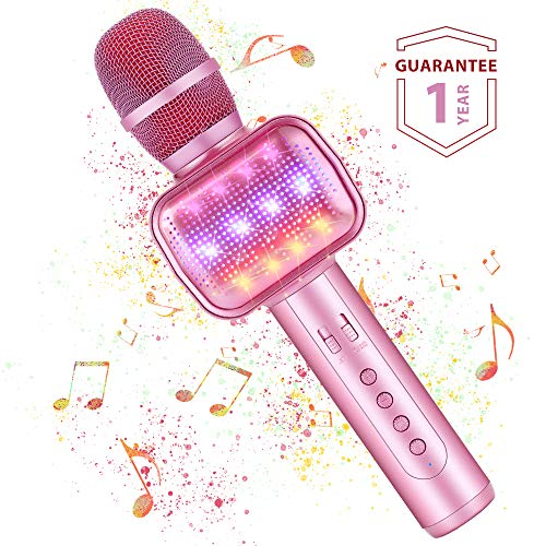 Microfono Karaoke Bluetooth Wireless Fede con Luci LED Multicolore, Effetti Vocali e Eco Karaoke Portatile per Cantare, Feste, Casa interni ed esterni, Compatibile con iphone Android PC Tablet