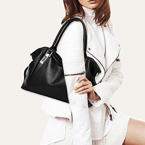 Honeymall Grande capienza borse donna in pelle sintetica borse a tracolla per viaggio ufficio campeggio Cachi Messaggero Del Tote(nero) Nero