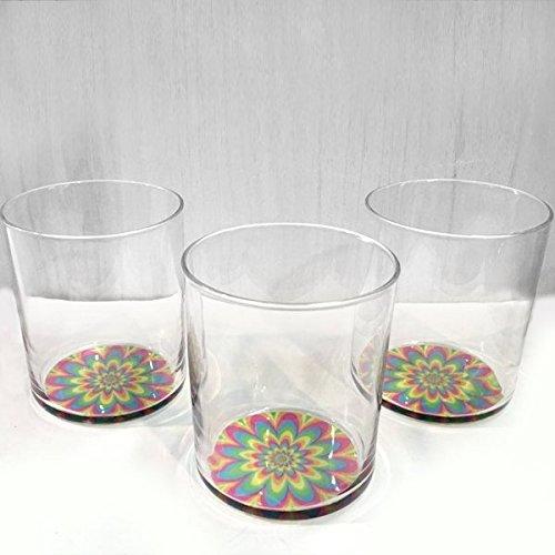 Set de 3 Gobelets Verre bas transparents colorés fleurs eau soda Cocktail 40 cl ligne Cerve Conic