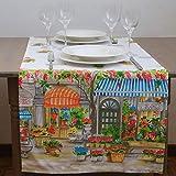 Giovanni Dolcinotti Table Collection | Chemin de Table Imprimé 50 x 150 cm - 100% Coton, Fabriqué en Italie, Magasin De Fleurs