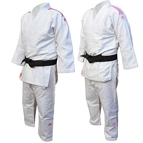 Judogi adidas j650/contest bianco in polycotton cm 180 strisce rosse