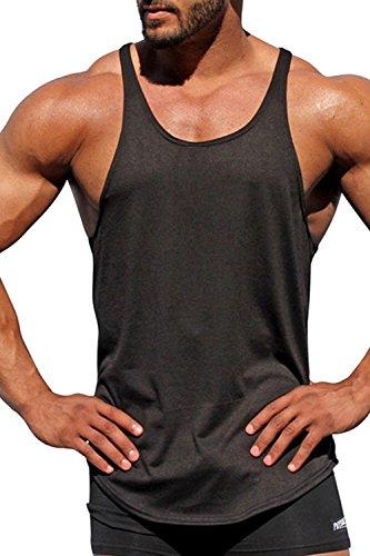 Uomini senza maniche scopp collare solida base top racer tank muscoli fitness black xs