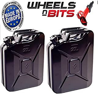 Wheels N Bits NEW 2x 20 LITRE Plus 1 spout Black JERRY MILITARY CAN FUEL OIL WATER PETROL DIESEL STORAGE TANK Jar 9mm Steel Can Powder Coated Pain + Paint inside with anti rust fuel resistant paint Nato Made EU Cans (2x Black 20 Litre Can Plus 1 spout)