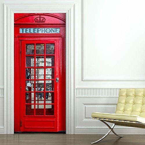 StickerProfis Türtapete selbstklebend Türposter - 10 Motive zur Auswahl - London TELEFONZELLE