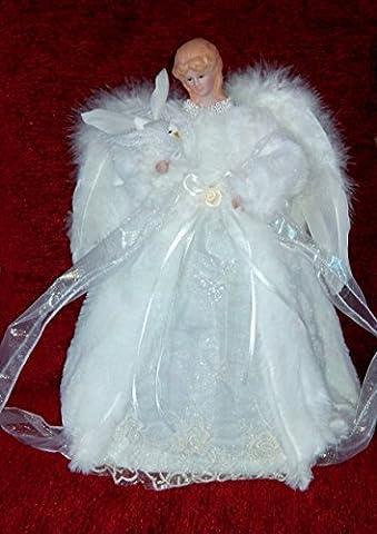 Ange pour arbre de Noël avec ailes en plumes et manteau en fausse fourrure blanc et crème, colombe blanche