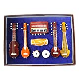#3: Wall Decor Wall Hanging 7 Miniature Musical Instruments Showpieces | Decorated Handmade Wooden Products | Best Authentic Gift For Christmas | 1 Guitar | 1 Sitar | 1 Sarod | 1 Tanpura | 1 Dholak | 1 Tabla Set | 1 Harmonium (Decorative Showpiece Gift | Does Not Play Sound)
