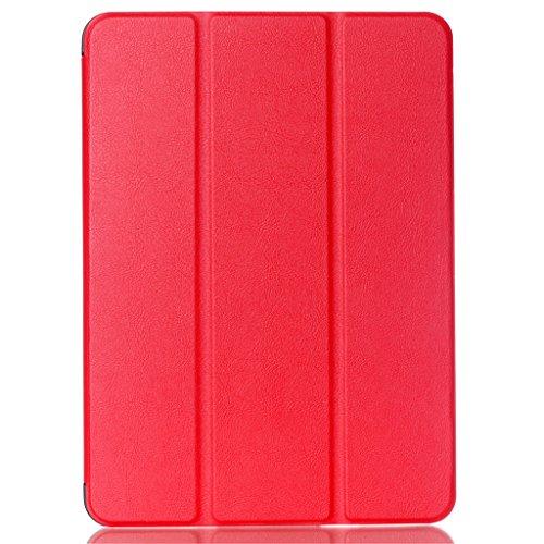 Samsung Galaxy Tab S2 9.7 SM-T815 SM-T810, Rot Premium [Soft TPU + PU Ledertasche] Flip Stehen Schutz Tablette Case Cover ()