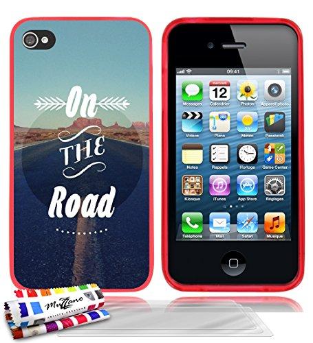 Ultraflache weiche Schutzhülle APPLE IPHONE 4 / IPHONE 4S [On the Road] [Lila] von MUZZANO + STIFT und MICROFASERTUCH MUZZANO® GRATIS - Das ULTIMATIVE, ELEGANTE UND LANGLEBIGE Schutz-Case für Ihr APPL Rot + 3 Displayschutzfolien