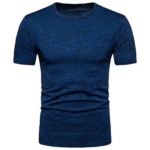T-Shirt Hommes Humour, feiXIANG Casual Été Solide Col Rond Chemisiers Tops Pullovers Chic T-Shirt à Manches Courtes Blouse (Bleu,S)