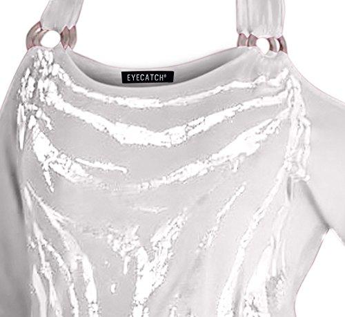 Mona Schulterfreies Damen Top Oberteil mit hübschem Grafik Druck Weiß