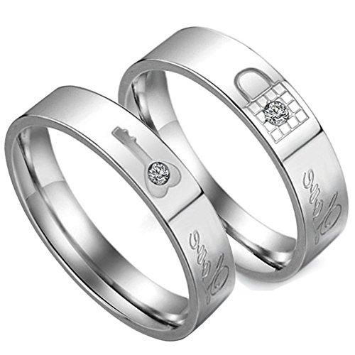 Flongo 2 Anillos pareja, Hombres Mujer, Llave y corazón, acero inoxidable diamante de imitación, Regalo para Día de los enamorados
