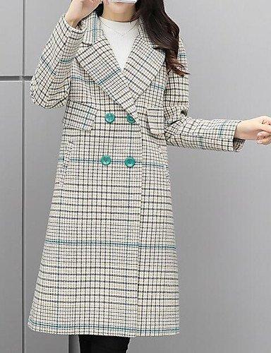 Erica Manteau Femme,Pied-de-poule Décontracté / Quotidien simple Hiver Manches longues Col de Chemise Longue Polyester , gray , s