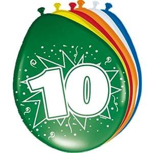 8 Luftballons 10.Geburtstag bunt gemischt
