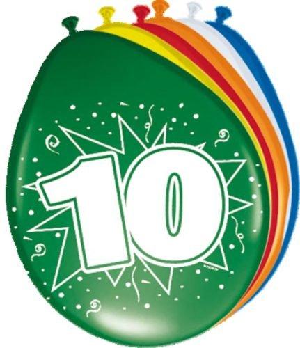 Preisvergleich Produktbild 8 Luftballons 10.Geburtstag bunt gemischt