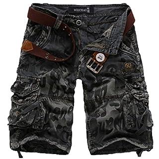 Elonglin Herren Shorts Cargoshorts Bermuda Kurz Hose Vintage Sommer Freizeithose Baumwolle (ohne Gürtel) Dunkel Grau Taille 94 cm(Asie 36)