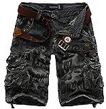 Elonglin Herren Shorts Cargoshorts Bermuda Kurz Hose Vintage Sommer Freizeithose Baumwolle (ohne Gürtel) Dunkel Grau Taille 78 cm(Asie 30)