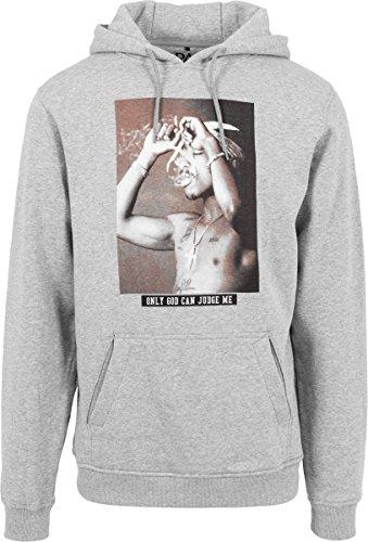 Hier Crewneck Sweatshirt (MISTER TEE O.G.C.J.M Hoodie, Sweatshirt für Herren und Teenager, Kapuzenpullover mit 2pac Aufdruck (Tupac Pullover mit Kapuze und Bauchtasche), Heather Grey, XS)