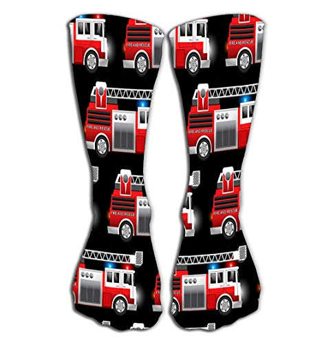 GHEDPO Calcetines Altos Men's Cool Colorful Casual Socks 19.7'(50cm) - Novelty Funny Casual Cotton Crew Socks Gift d Red Fire Rescue Truck Seamless Pattern Dark African