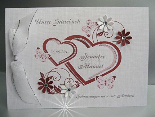 Gästebuch zur Hochzeit mit Namen 10000 in bordeauxrot