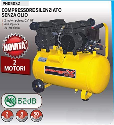 COMPRESSORE 50 LT SILENZIATO A SECCO MOTORI 2X1 HP ITALY 8 BAR...