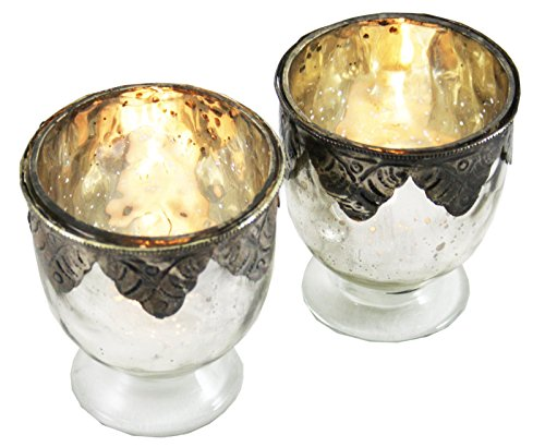 Paar Glas und Metall Teelichthalter mit einer Distressed Silber Dekoration (Sticks Silber Und Gold Candle)