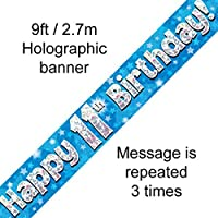 11th Birthday Blue Holographic Banner by Signature Balloons