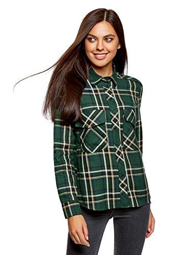 Oodji ultra donna camicia a quadri con tasche su petto, verde, it 38 / eu 34 / xxs
