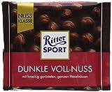 RITTER SPORT Dunkle Voll-Nuss (100 g), ganze Haselnüsse in einer dunklen Tafelschokolade, Halbbitterschokolade, mit mindestens 50% Kakaoanteil