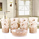 PLYY Vintage Classic Luxus Badezimmer Bad 5 Stücke Set 3D Dekor Zubehör Sammlung Set für Hotel & Home, Pink