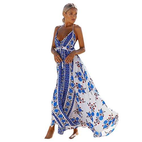 Damen Kleider,LMMVP Frauen reizvolles Halter Backless V-Ansatz Blumen gedrucktes Maxi Kleid (M, Blue) (Ausschnitt Halfter Perlen)
