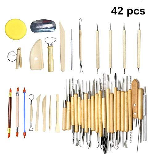 42 pcs Argile Sculpture Outils Pottery Sculpture Outil Set Outils De Modélisation En Bois Sculpture Couteau Outils pour Sculpture Poterie Meilleur pour l'apprentissage