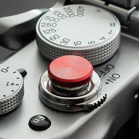 Soft Déclencheur en aluminium en rouge (plat, rainuré, 10mm) pour Leica M-Serie, Fuji X100, X100S, X100T, X10, X20, X30, X-Pro1, X-Pro2, X-E1, X-E2, X-E2S et tous les appareils photos avec la bouche filetage conique