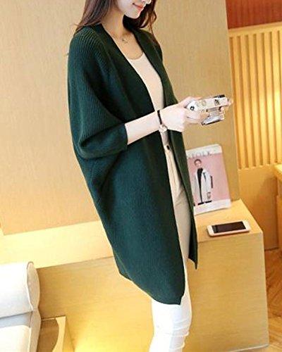 Femmes Mi-Longue Manche Longue Tricot Chandail Cardigans Pull Sweaters Bonnetterie Coat Veste Vert foncé