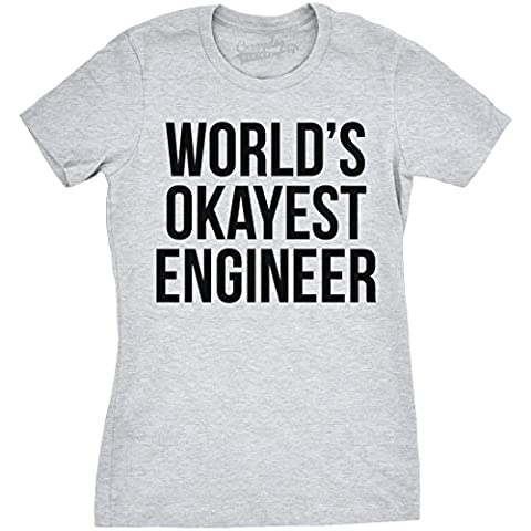 Crazy Dog TShirts - Women's World's Okayest Engineer T Shirt Funny Career Tee -L - Femme