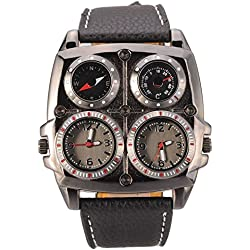 Gleader Men's Large Watch. Dual Time Zones, Compass, Thermometer - Big 5cm Multi-Function Dial - Long 16-22cm Black Genuine Leather Strap (Square Black)