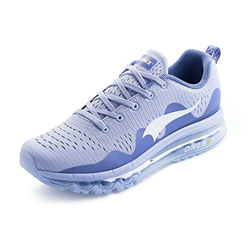 ONEMIX Air Baskets Homme Femme Chaussures de Course Trail Sneakers New Wave Sports Running Shoes Clair De Lune / Argenté