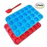 Silicone teglia per muffin Mold bonus con spatola, Sourceton confezione da 3pezzi di stampo muffin e spatola, teglia, flessibile, cupcake, antiaderenti, lavastoviglie, forno, forno a microonde–blu + rosso