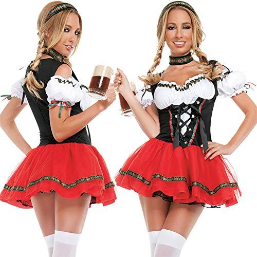 Bier Kostüm Mädchen Zombie - SC Halloween Kostüm Party Lady German Beer Festival Bier Mädchen Kleidung Bar Kellner Magd Kleid Party Party Bar Performance Kostüm,Red,XL