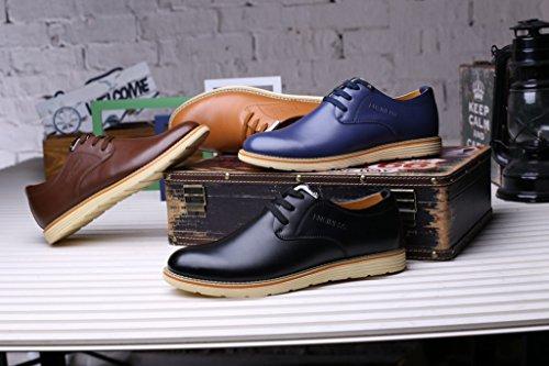 AMAPO Mode Hommes rondes talon PU Chaussures en cuir Chaussures Lace Up Chaussures d'affaires Casual Chaussures de travail pour les hommes Marron