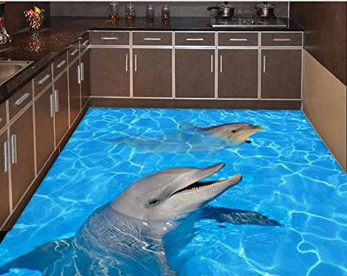 Weaeo Meer Strand Stock Aufkleber Dolphin Wasserdichter Boden Wandmalerei Custom Photo Selbstklebend 3D-Stock (Himmel Auf Boden)