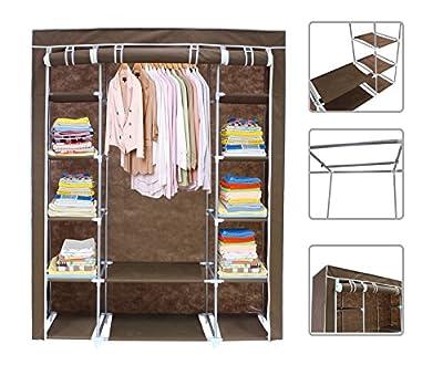 Brown fabric wardrobe - 3-door wardrobe with zip closure - low-cost UK light shop.