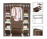 Todeco - Stoffschrank, Stoff-Garderobe - Material: Edelstahlrohre - Abschlusstyp: Klettteile und Reißverschluss - 3 Türen, 172 x 134 x 43 cm, Braun