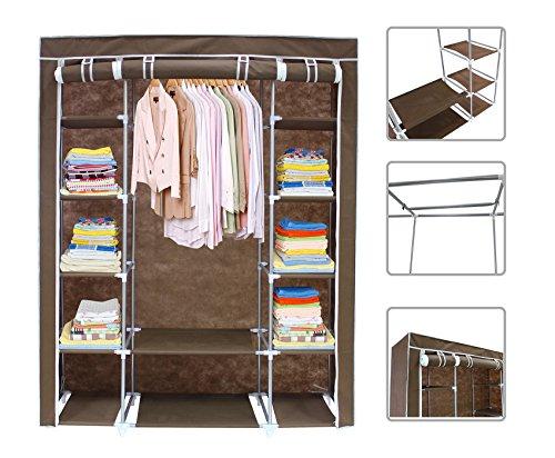 armoire-penderie-marron-en-tissu-garde-robe-3-portes-avec-fermeture-zip