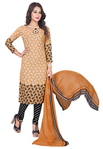 Salwar Studio Women's Beige & Black Synthetic Self Printed Dress Material with Dupatta  available at amazon for Rs.495
