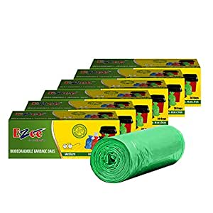 Ezee Bio-degradable Medium Garbage Bags/Trash Bags/Dustbin Bags (19 X 21 Inches) Pack of 6 (180 Pieces) 30 Pcs Each Pack