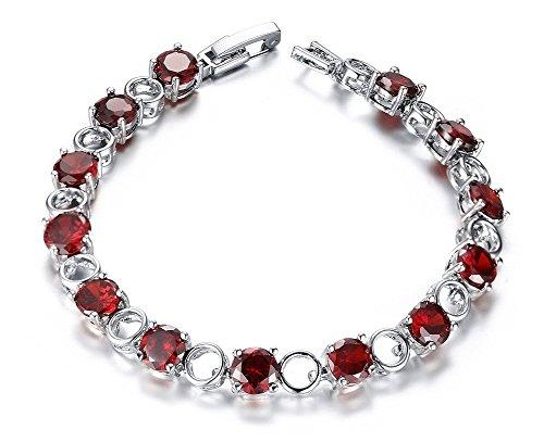 Vnox Elegante Bracciale Tennis, Rosso Rubino Swarovski Elements Diamante Clip Bracciale da donna argento