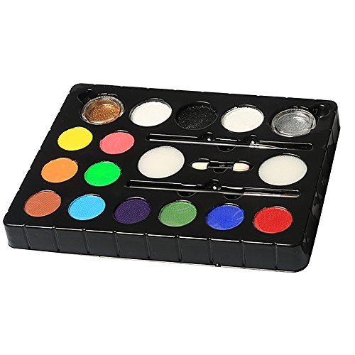 InnooBaby 12er Schminkasten Schminkset , 2 Glitzer und 3 Pinsel , Schminkfarbe Tiermasken Körperfarben für Halloween Karneval Make-up Gesichtsfarbe Bodypainting (Vampir Hexe Kostüm Make Up)