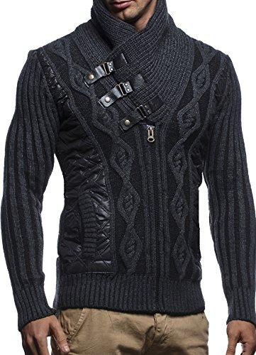 LEIF NELSON Herren Jacke Pullover Strickjacke Hoodie Sweatjacke Freizeitjacke Winterjacke Zipper Sweatshirt LN5305 Anthrazit-Schwarz