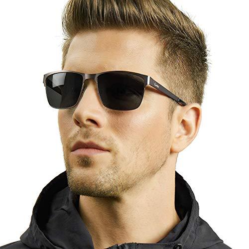 Carfia Polarisierte Herren Sonnenbrille Modische Metallrahmen Fahrer Sonnenbrille 100% UV400 Schutz für Golf, Autofahren, Outdoor Sport, Angeln (Gestell: Gunmetal, Gläser: Grau)