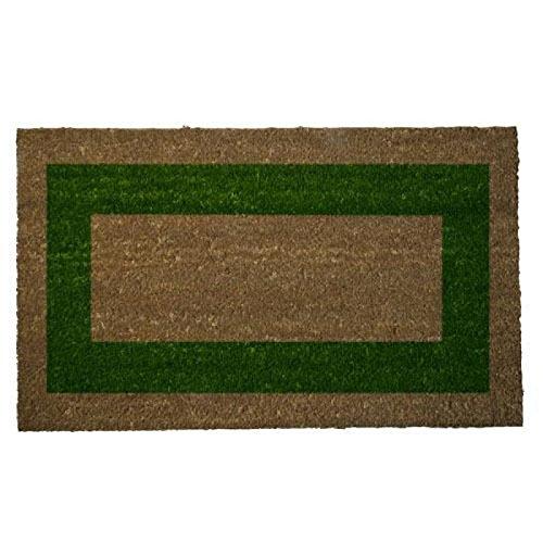 Felpudos Elegantes fibra coco raya verde, color marrón